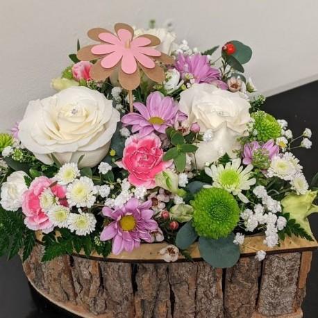Wooden Heart of flowers