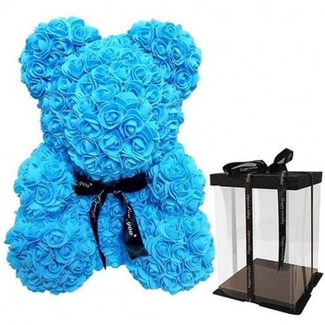 Blue Rose Teddy Bear