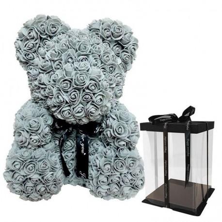 Grey Rose Teddy Bear